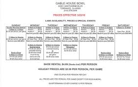 gable house bowl home hours and prices
