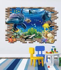 3d blue sea fish finding nemo wall stickers removable home decor