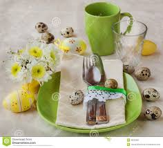 Spring Table Settings Spring Or Easter Table Setting With Decorations Royalty Free Stock
