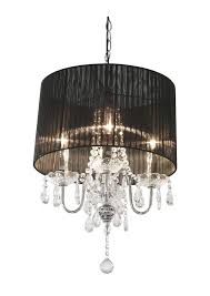 Chandelier With Black Shade And Crystal Drops Shaded Chandelier With Crystal Drops By Made With Love Designs Ltd