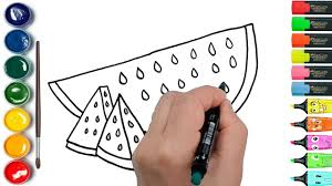 draw color and paint watermelon fruit coloring pages for kids to