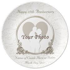 25th anniversary plates personalized personalized anniversary plates any year and photo zazzle