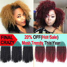 ombre crochet hairstyles 3pcs lot marlybob curly crochet hair extensions 8 afro kinky