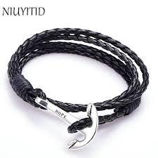 bracelet man images Niuyitid 40cm pu leather men bracelet jewelry man anchor bracelet jpg