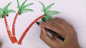 how to draw a coconut trees at sea coast kids craft toys youtube