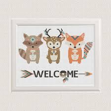 baby cross stitch pattern animals fox deer raccoon modern cross this is a digital file