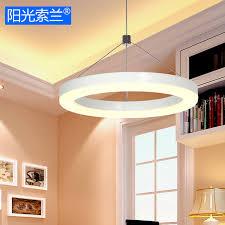 lustre pour bureau moderne simple led éclairage blanc anneau lustre pour salle à