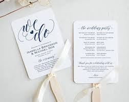 wedding programs fans templates wedding fan template etsy