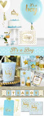 blue and gold baby shower decorations and ideas for a prince baby