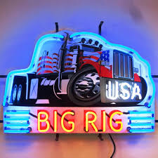 kenworth peterbilt huge neon sign semi big rig 18 wheeler mack kenworth peterbilt