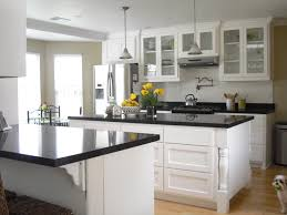 Glass Door Kitchen Cabinets Furniture White Wooden Kitchen Island With Black Granite Top On