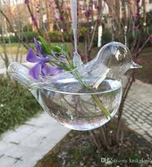 blown glass bird ornament hanging planter vase indoor planting