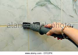 Steam Clean Bathroom Tiles Woman Cleaning Bathroom Tiles Stock Photo Royalty Free Image
