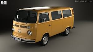 orange volkswagen van 360 view of volkswagen transporter t2 passenger van 1972 3d