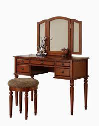 Nifty Mirror by Rectangle Brown Wooden Makeup Table With Drawers And Three Mirror