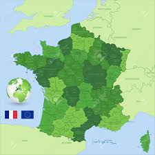 A Map Of France by A Green High Detail Vector Map Of France With Administrative