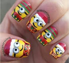 Christmas Light Nails by Christmas Minion Nails Reading Nook Also Different Nail Shapes On