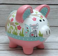 customized piggy bank personalized piggy bank mint and coral woodland animals artisan