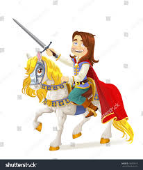 brave prince charming on white horse stock vector 102023413