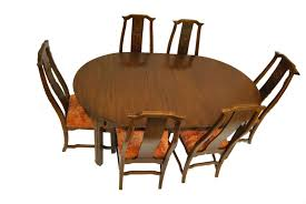 asian influence dining room table and chairs by davis cabinet