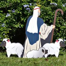 Nativity Outdoor Decorations Printed Nativity Shepherd With Sheep Outdoor Nativity Sets
