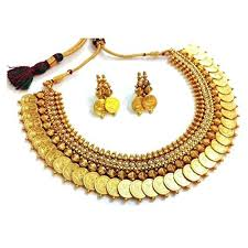 earrings for women pearl traditional temple coin necklace set jewellery set with