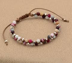 braided bracelet with bead images Bohemia bracelet onyx amazonite metal beads cord braided bracelet jpg