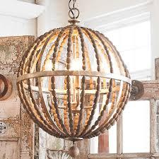 wood bead ceiling light wooden bead globe chandelier 4 light shades of light