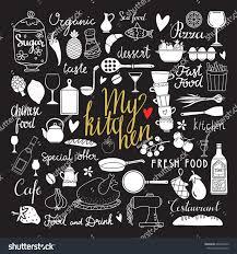 kitchen utensil cooking food set hand stock vector 664448479