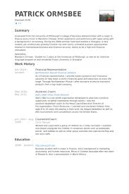 Sample Resume Language by Financial Representative Resume Samples Visualcv Resume Samples