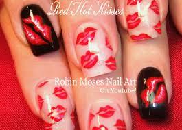 red lips nail art design french kiss nails tutorial