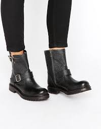 selected femme selected selected femme beth black leather biker boots