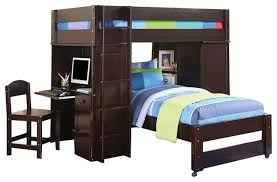 Bookcase Bunk Beds All In 1 Wenge Finish Twin Over Twin Size Loft Bed Bookcase Desk