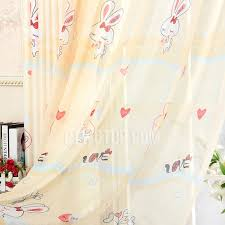 Yellow Nursery Curtains And Lovely Rabbit Pattern Polyester Privacy Yellow Nursery Curtains