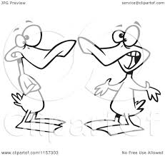 cartoon of ducks quacking a conversation vector outlined