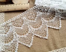 wide lace ribbon cotton lace fabric trim retro beige floral flower scallop