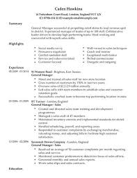 General Manager Resume Template General Manager Cv Example For Sales Livecareer