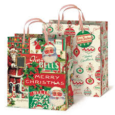 christmas gift bags cavallini papers vintage christmas gift bag set typo market