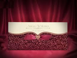 Asian Wedding Invitations Maroon Velvet Finish Pocket Wedding Invitation Card Ba5464