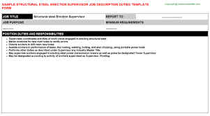 structural steel foreman job descriptions