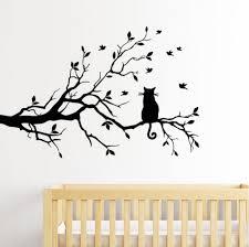 Stencil Albero by Negozio Online Gatto Su Un Ramo Di Albero Uccelli Wall Sticker