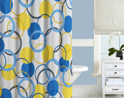 Yellow Flower Shower Curtain Blue And Yellow Shower Curtain Abstract Shower Curtain Aqua Blue