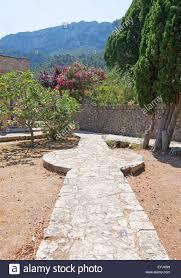 details of the monastery garden walkway decorations stock