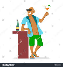 holiday cocktails clipart happy man drinking cocktail on vacation stock vector 661098373