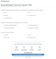 quiz u0026 worksheet sun tzu u0027s the art of war study com