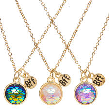 round necklace pendant images Best friends gold tone round mermaid scale pendant necklaces jpg