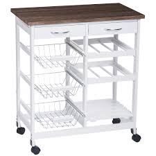 amazon com merax white mobile kitchen trolley with 2 drawers