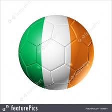 Ireland Flag Games With Ball Soccer Football Ball With Ireland Flag Stock