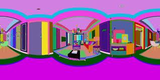 panoramic modern style living room restaurant space 3d model max tga