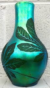 30s Vase French Deco Iridescent Acid Etched Art Glass Vase 1920s For Sale